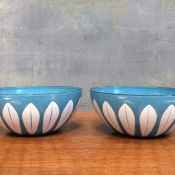 Pair-of-1950s-Blue-Enamel-Lotus-Bowls