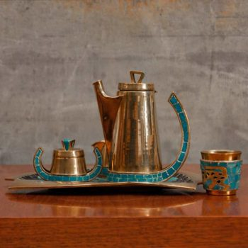 Mid Century Furniture Objects Mr-Mod-Brass-&-Mosaic-Coffee-Set-by-Salvador-Teran
