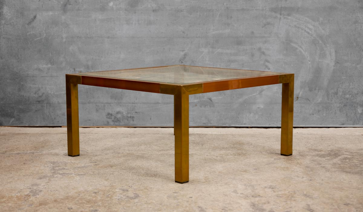 70 S Italian Brass Copper Glass Top Coffee Table