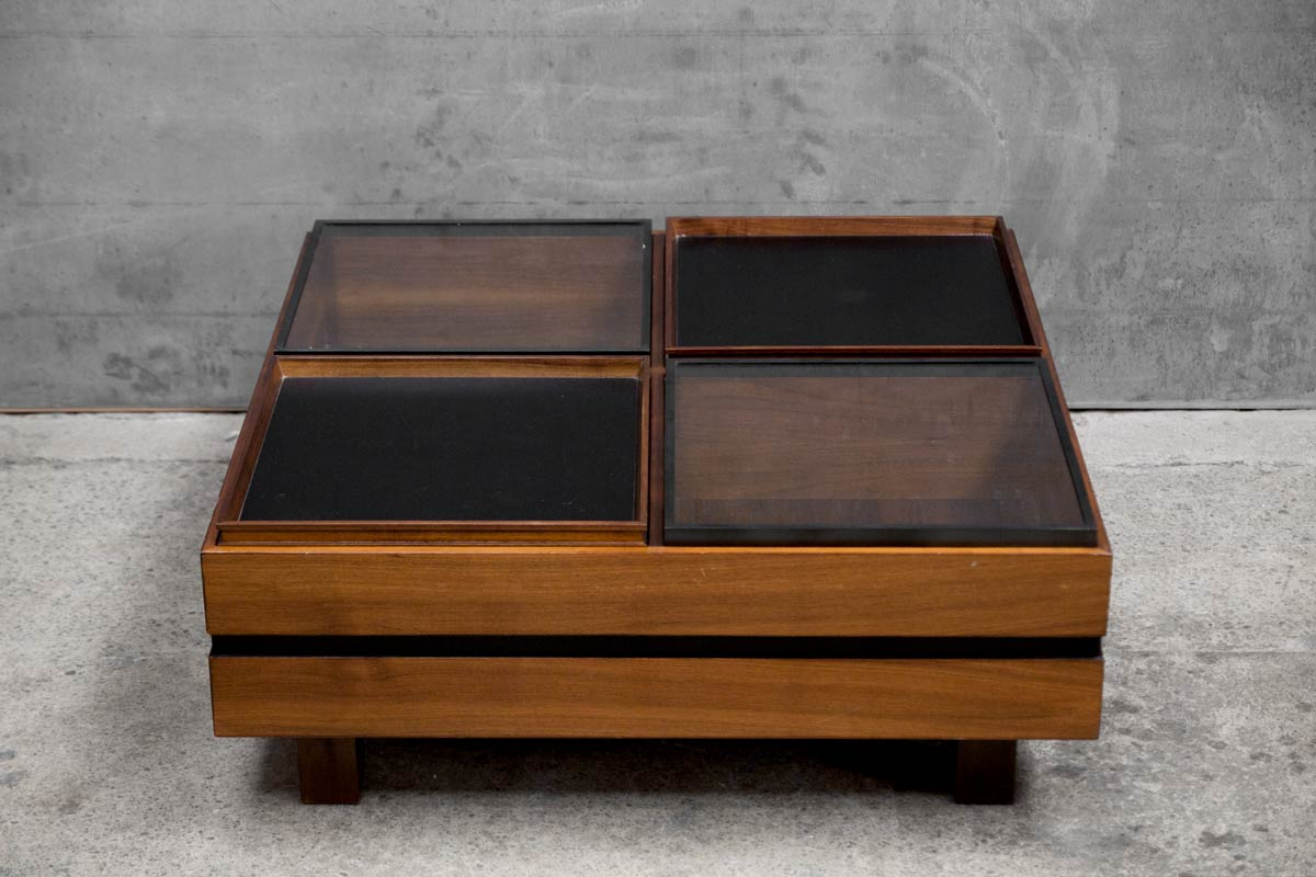 1970 S Italian Walnut Coffee Table Mr Mod