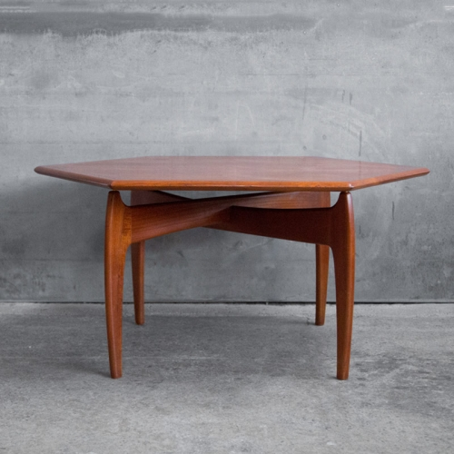 Danish Modern Hexagonal Teak Coffee Table by J. Ingvard ...